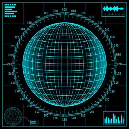 guerra: Pantalla de radar. Mundo digital con escala.