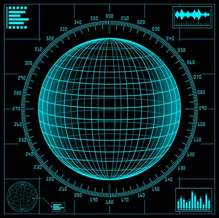 warfare: Radar screen. Digital globe with scale. Illustration
