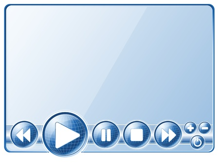 Multimedia player controls (buttons).  Vector