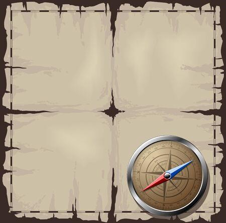 Staal gedetailleerde kompas over oude kaart