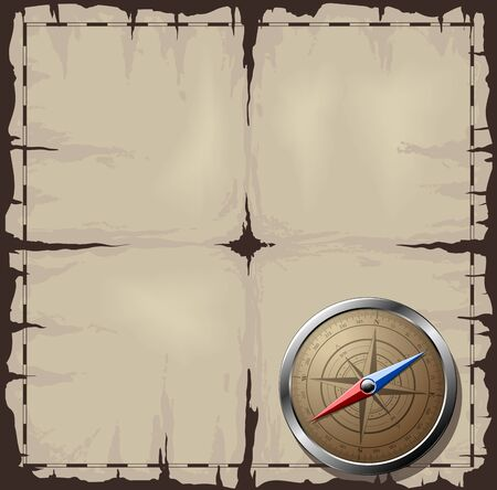 Steel detailed compass over old map Vector