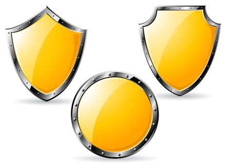 Set of yellow steel shields isolated on white background. Vector