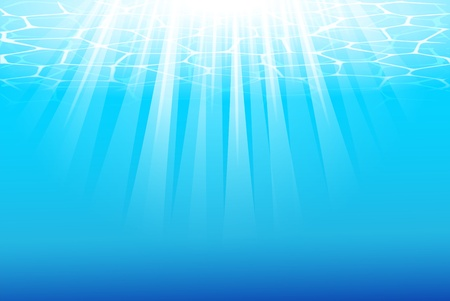 Blue underwater background with sunbeams. Stock Vector - 9946559