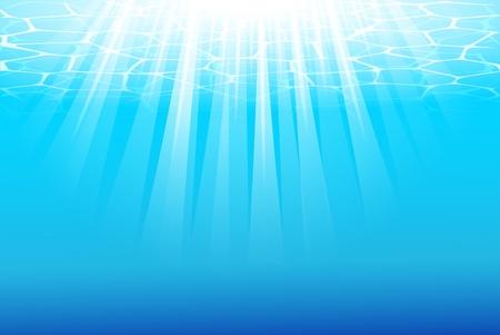 Blue underwater background with sunbeams.