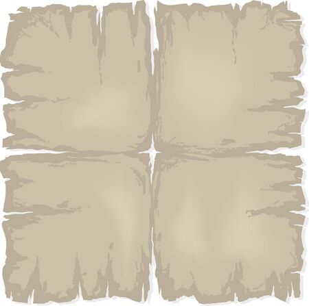 Old damaged sheet of paper or map. Vector illustration isolated on white background. Vector