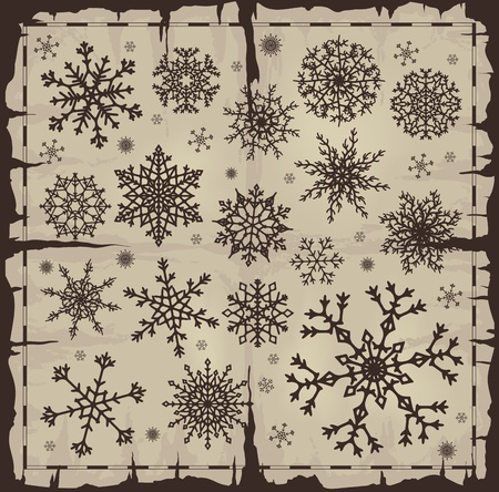 Set of different snowflakes over old damaged page. Vector EPS8. Stock Vector - 10616941