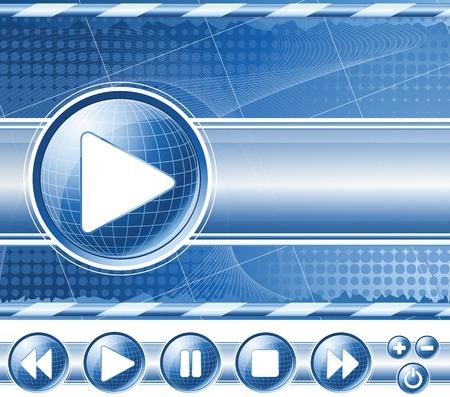 Achtergrond met multimedia-speler controles (knoppen). Vector EPS10.