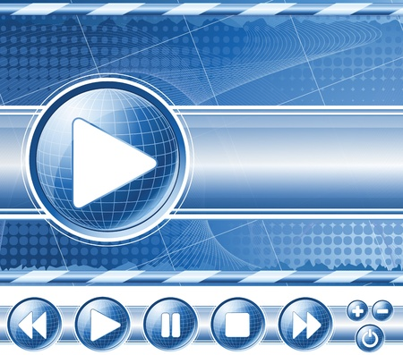 Background with multimedia player controls (buttons). Vector EPS10.