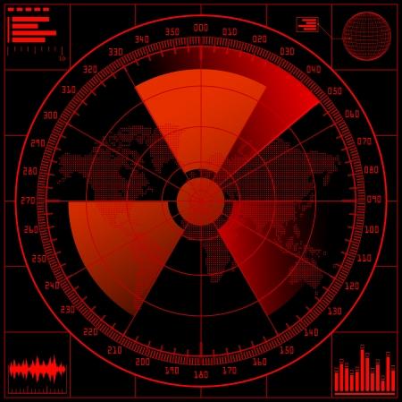 Pantalla de radar con signo radioactivo.  Ilustración de vector