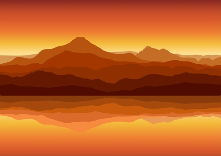 volcanos: Sunset in huge mountains near lake