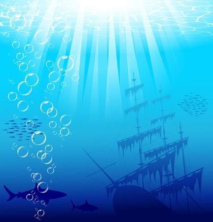 상어와 오래 된 선박 아름답고 위험한 수중 세계. 벡터 EPS 10.