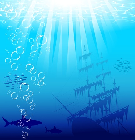 Beautiful and dangerous underwater world with sharks and old ship. Vector EPS 10. Vectores