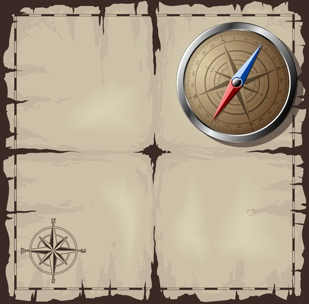 Steel detailed compass over old map. Vector