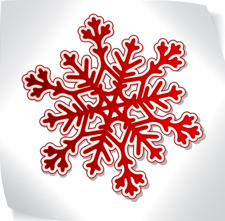 snowflacke: Red paper snowflacke over blank paper sticker Illustration