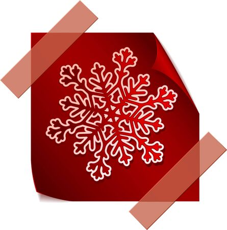 Red paper snowflake over red paper sticker Stock Vector - 11252202