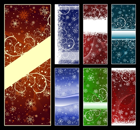 Set of abstract Christmas backgrounds with snowflakes, stars and copy-space photo