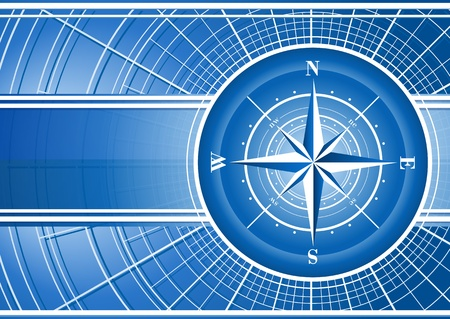 Blue background with compass rose.  Vector