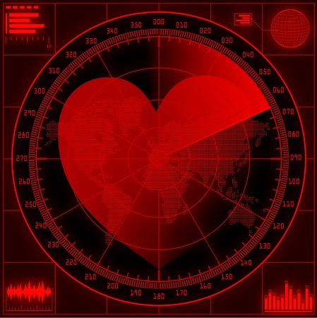 globe grid: Radar screen  with red heart.