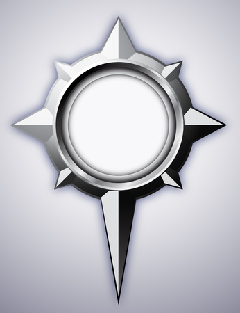 Steel detailed compass rose with shadow.  Vector