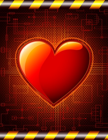 Valentines Background  with glossy heart. Stock Vector - 11972363
