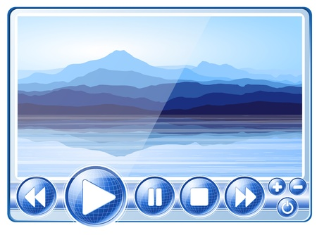 Multimedia Player with view of blue mountains near lake.  Vector