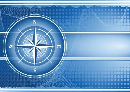 Blue background with compass rose Stock Vector - 13972085