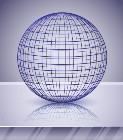 3d sphere or globe over shiny background   Vector