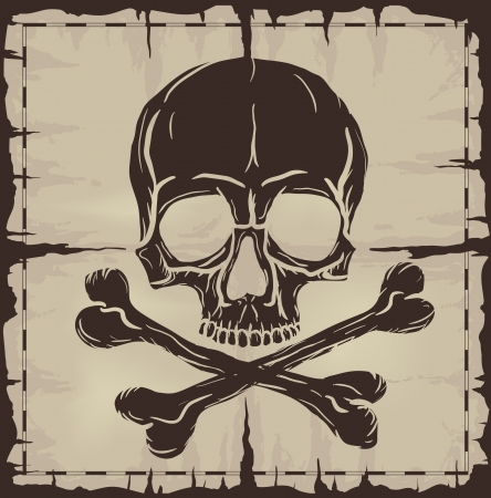Old damaged sheet of paper with Skull and Crossbones  Vector