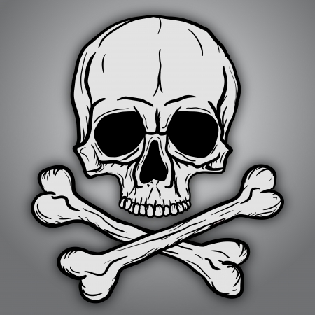 Skull and Crossbones over gray background