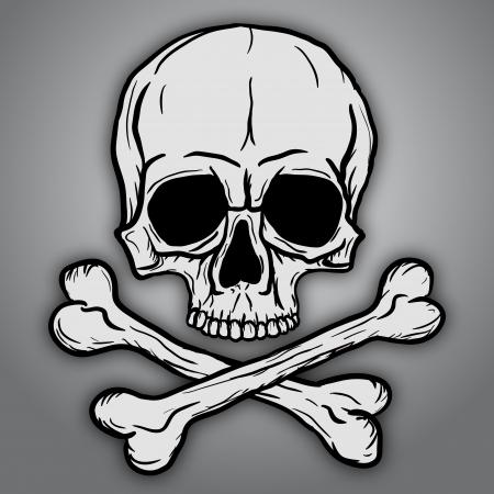 skull: Cr�ne et os crois�s sur fond gris Illustration