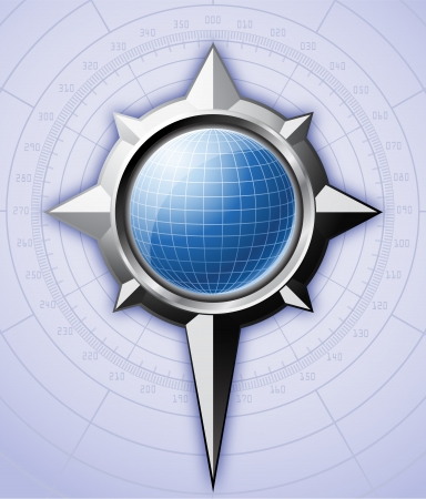 compass rose: Steel compass rose with blue globe inside it   Illustration