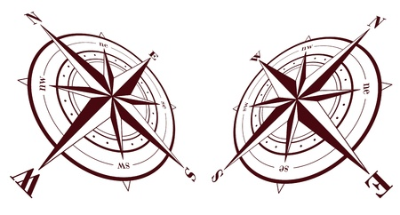 nautical compass: Set of compass roses isolated on white background Illustration