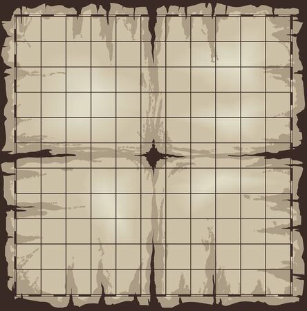 Old damaged map with grid