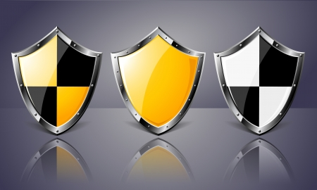 Set of Steel Shields over dark background  Transparency is used to create shadows  Vector