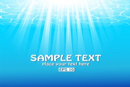 Blauw water achtergrond met zonnestralen Stock Illustratie