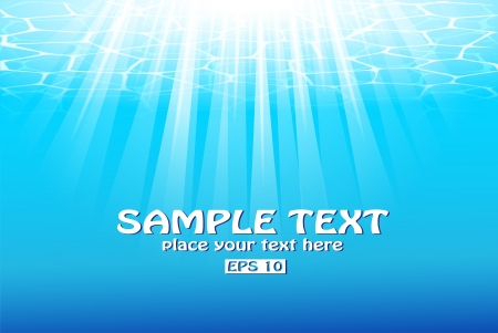 Blue underwater background with sunbeams   Vector