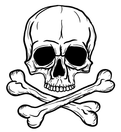 skull tattoo: Skull and Crossbones isolated over white background