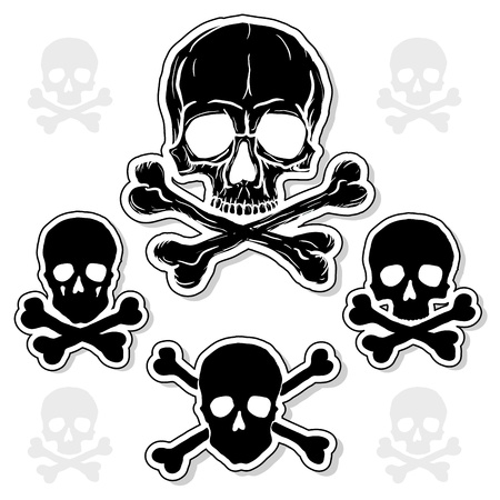 Set of Skulls with Crossbones isolated over white background Illustration