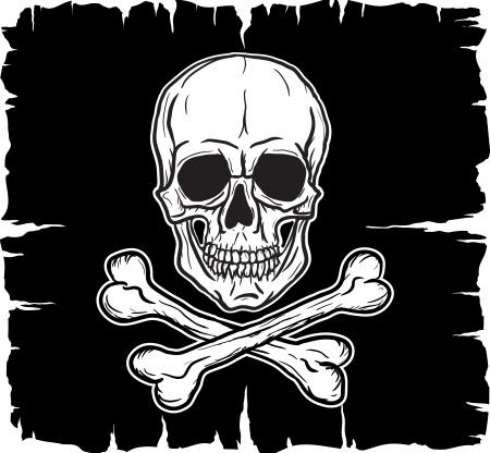 Skull and Crossbones over black flag  Vector illustration   イラスト・ベクター素材