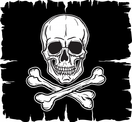 Skull and Crossbones over black flag  Vector illustration  Ilustração