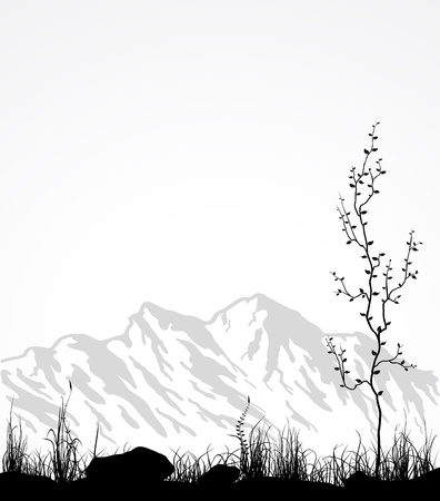 Paisaje con montañas, vidrio y árbol. Vector ilustración.