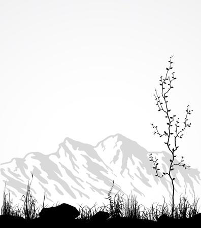 Landschap met bergen, glas en boom. Vector illustratie. Stock Illustratie