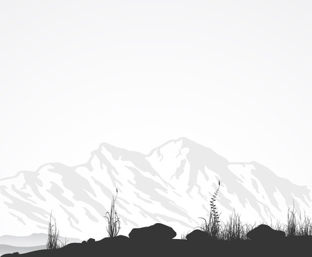 산맥, 잔디와 돌 프리. 벡터 illustratoin.