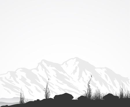Landschap met bergen, gras en stenen. Vector illustratoin.