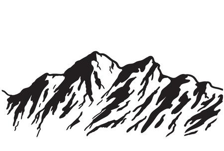 흰색 그림에 고립 된 산맥