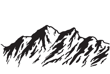 peak: Mountain range isolated on white illustration  Illustration