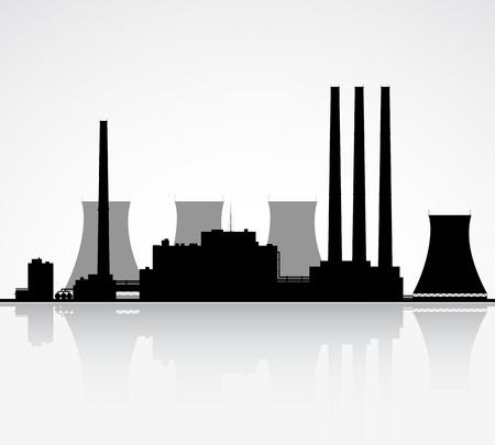 powerplant: Silhouet van een kerncentrale illustratie Stock Illustratie