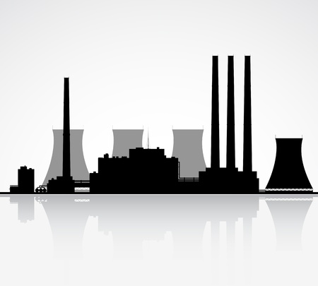 Silhouette of a nuclear power plant illustration  Vector