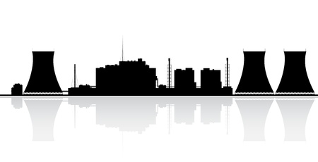 Silhouette of a nuclear power plant  Vector illustration  Vectores