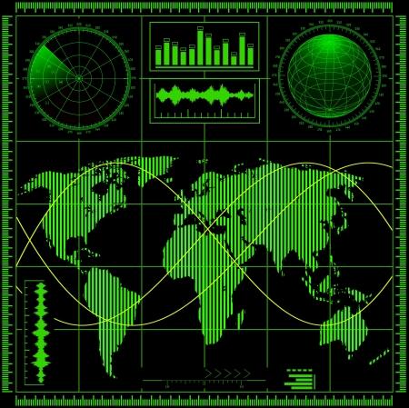 sonar: Schermo radar con mappa del mondo vettoriale EPS8 Vettoriali
